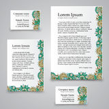 Tracery Card Business - natural mood, mehndi Royalty Free Stock Images