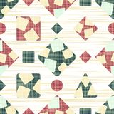 Tracery for cloth with geometric shapes. Texture vector illustration. Rhombus, square, triangle and circle. Colorful Wallpaper Stock Photos