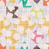 Tracery for cloth with geometric shapes. Texture vector illustration. Rhombus, square, triangle and circle. Colorful Wallpaper Stock Images