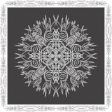 Tracery decor. Abstract tracery whyte decor with border on a black background Vector Illustration