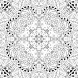 Tracery mehndi curved ornament. Ethnic motif, monochrome binary harmonious doodle texture. Black and white. Vector. Royalty Free Stock Photos