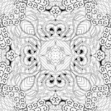 Tracery mehndi curved ornament. Ethnic motif, monochrome binary harmonious doodle texture. Black and white. Vector. Royalty Free Stock Photo