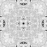 Tracery mehndi curved ornament. Ethnic motif, monochrome binary harmonious doodle texture. Black and white. Vector. Royalty Free Stock Photography
