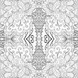 Tracery mehndi curved ornament. Ethnic motif, monochrome binary harmonious doodle texture. Black and white. Vector. Stock Photo