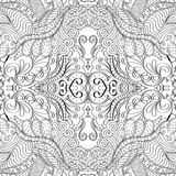 Tracery mehndi curved ornament. Ethnic motif, monochrome binary harmonious doodle texture. Black and white. Vector. Stock Image