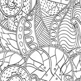 Tracery mehndi curved ornament. Ethnic motif, monochrome binary harmonious doodle texture. Black and white. Vector. Royalty Free Stock Images