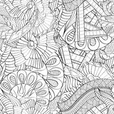 Tracery mehndi curved ornament. Ethnic motif, monochrome binary harmonious doodle texture. Black and white. Vector. Stock Images