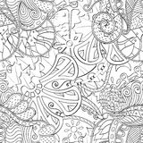 Tracery mehndi curved ornament. Ethnic motif, monochrome binary harmonious doodle texture. Black and white. Vector. Royalty Free Stock Image