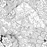 Tracery mehndi curved ornament. Ethnic motif, monochrome binary harmonious doodle texture. Black and white. Vector. Tracery seamless calming pattern. Mehendi Royalty Free Stock Images