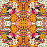 Tracery mehndi ethnic ornament. Indifferent discreet calming motif, usable doodling colorful harmonious design. Vector. Stock Image