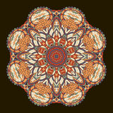 Tracery mehndi ethnic ornament. Indifferent discreet calming motif, usable doodling colorful harmonious design. Vector. Ray edge mandala tracery wheel mehendi Royalty Free Stock Photos