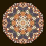 Tracery mehndi ethnic ornament. Indifferent discreet calming motif, usable doodling colorful harmonious design. Vector. Ray edge mandala tracery wheel mehendi Stock Images