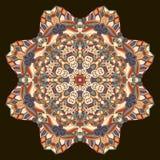 Tracery mehndi ethnic ornament. Indifferent discreet calming motif, usable doodling colorful harmonious design. Vector. Ray edge mandala tracery wheel mehendi Stock Image