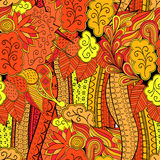 Tracery mehndi ethnic ornament. Indifferent discreet calming motif, usable doodling colorful harmonious design. Vector. Stock Photography