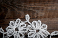 Tracery tissue on dark wood background Stock Image