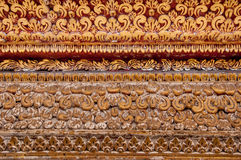 Tracery on wall temple. By handmade in thailand Royalty Free Stock Image