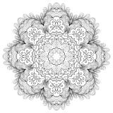 Tracerymehndi gebogen ornament Etnisch motief, zwart-wit binaire harmonische krabbeltextuur Rebecca 36 Vector Royalty-vrije Stock Fotografie