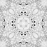 Tracerymehndi gebogen ornament Etnisch motief, zwart-wit binaire harmonische krabbeltextuur Rebecca 36 Vector Royalty-vrije Stock Foto