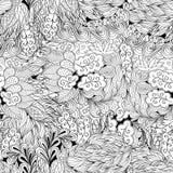 Tracerymehndi gebogen ornament Etnisch motief, zwart-wit binaire harmonische krabbeltextuur Rebecca 36 Vector Royalty-vrije Stock Foto's