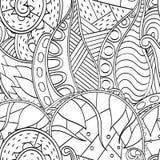 Tracerymehndi gebogen ornament Etnisch motief, zwart-wit binaire harmonische krabbeltextuur Rebecca 36 Vector Royalty-vrije Stock Afbeeldingen