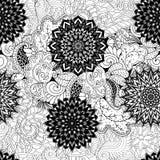 Tracerymehndi gebogen ornament Etnisch motief, zwart-wit binaire harmonische krabbeltextuur Rebecca 36 Vector Royalty-vrije Stock Afbeelding