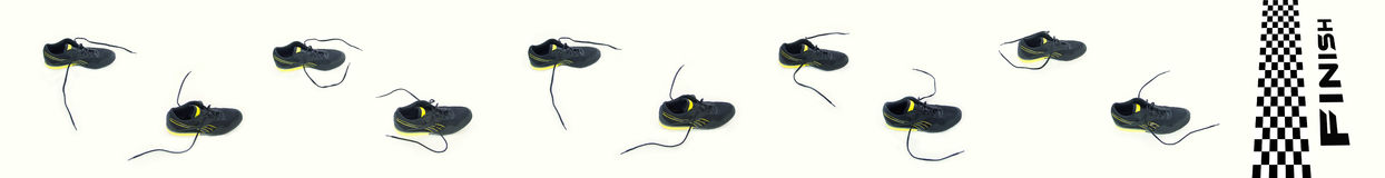 Traces. From running shoes to the finish Royalty Free Stock Photos