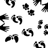 Traces. Of animals and people on white background , illustration Royalty Free Stock Images