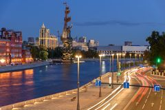 Traces of car headlights moving cars. Evening view of the embankment of the Moscow River. Traces of car headlights moving cars. Evening view of Moscow street royalty free stock images