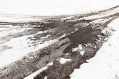 Traces of the car on snow Stock Photography