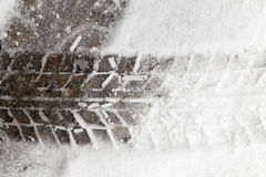 Traces of the car on snow Royalty Free Stock Photography