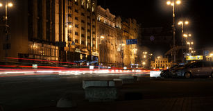 Traces of cars headlamps night. Freezelight. Night Kyiv. Kiev. Traces of cars headlamps night, Freezelight. Night Kyiv Stock Photography