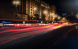 Traces of cars headlamps night. Freezelight. Night Kyiv. Kiev. Traces of cars headlamps night, Freezelight. Night Kyiv Stock Images