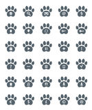 Traces of Cat Icons Set. Royalty Free Stock Photography