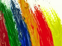 Traces colorful brush on a white sheet of paper. Stock Photography