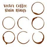 Traces d'anneaux de tache de café ou d'expresso des illustrations de vecteur de tasses illustration de vecteur