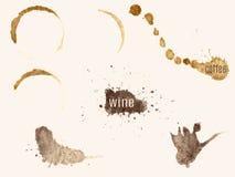 Traces de café et de vin Images libres de droits