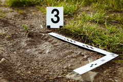 Traces of foot on crime scene. Crime scene investigation - collecting of trasology evidence footprint stock image