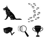Traces on the ground, service shepherd, security camera, fingerprint. Prison set collection icons in black style vector. Symbol stock illustration Royalty Free Stock Images