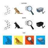 Traces on the ground, service shepherd, security camera, fingerprint. Prison set collection icons in cartoon,black,flat. Style vector symbol stock illustration Stock Photo