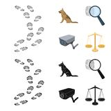 Traces on the ground, service shepherd, security camera, fingerprint. Prison set collection icons in cartoon,black style. Vector symbol stock illustration Royalty Free Stock Photo
