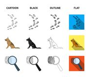 Traces on the ground, service shepherd, security camera, fingerprint. Prison set collection icons in cartoon,black. Outline,flat style vector symbol stock Royalty Free Stock Image