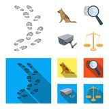 Traces on the ground, service shepherd, security camera, fingerprint. Prison set collection icons in cartoon,flat style. Vector symbol stock illustration Stock Photography
