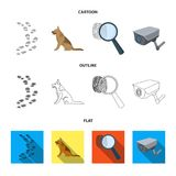 Traces on the ground, service shepherd, security camera, fingerprint. Prison set collection icons in cartoon,outline. Flat style vector symbol stock Stock Photos