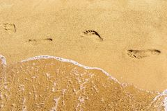 Traces of human legs and water on sand Royalty Free Stock Photo