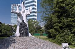 Traces of Jewish Warsaw - Korczak memorial. Janusz Korczak was a Polish educator, children author, paediatrician and director of an orphanage in Warsaw. On 5 stock photo