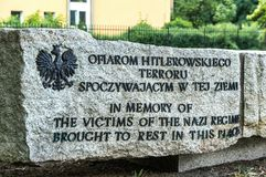 Traces of Jewish Warsaw - Mass execution monument. Part of the Monument of Jews and Poles Common Martyrdom in Warsaw at the site of a mass grave of Poles and stock image