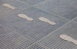 Traces on the metal lattice Stock Image