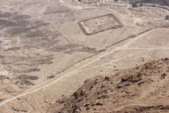 Traces of an old camp can be seen from a mountain at Masada Royalty Free Stock Images