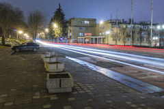 Traces of passing cars at night Royalty Free Stock Photography