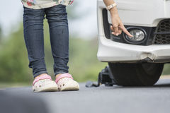 The Traces of plying the front bumper on a white car. Stock Image